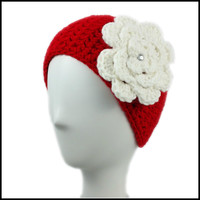 Red Earwarmer with White Flower