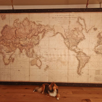 Massive and powerful world map, world in 1819, on canvas + antique wooden pirate frame. Giant wall decor. Huge map for huge wall.