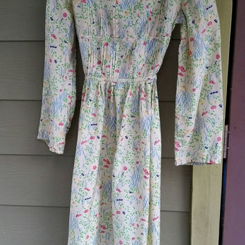 Vintage Gump's of San Francisco Floral Print 60s 70s Dress Size Small