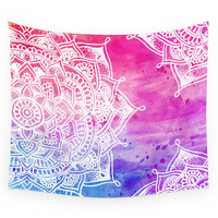 Society6 White Mandala On Watercolour Wall Tapestry