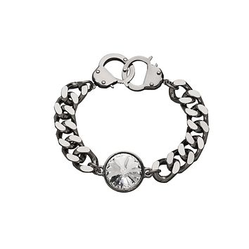 Crystal Curb Chain & Handcuff Clasp Bracelet