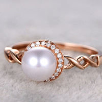 6.5mm Akoya pearl ring diamond engagement ring halo infinity twisted 14k/18k rose gold Seawater pearls