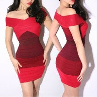REAL PHOTO Gradient Ombre Red Pink color Bandage Dress Bodycon Mini short off shoulder Sexy party club wear Women ladies winter-in Dresses from Women's Clothing & Accessories on Aliexpress.com | Alibaba Group