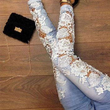 Fashion Women Sexy Denim Light Blue Skinny Jeans Crochet Lace Party Pants