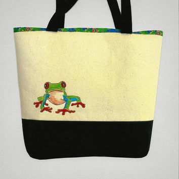 Tree Frog Canvas Tote Bag Purse with Custom Lining