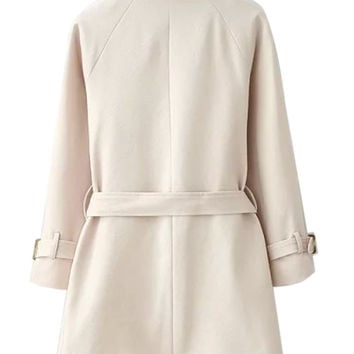 Khaki Lapel Belted Waist Pocket Slim Trench Coat
