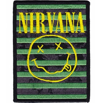 Nirvana Iron-On Patch Smiley Face Stripes Logo