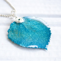 Turquoise Glitter Aspen Leaf Pendant, Bridesmaid Jewelry, Nature Jewelry