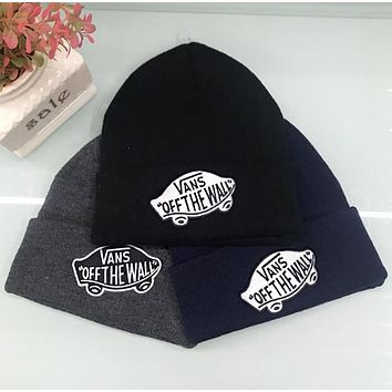 VANS Autumn Winter New Popular Women Men Embroidery Warmer Hip-Hop Beanies Knit Hat Cap