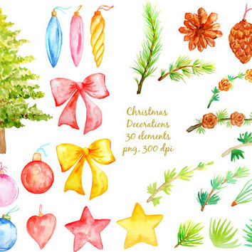 watercolor Clipart -  Christmas Decorations, christmas tree, wreath, pine cone, pine needle, pine branch instant download