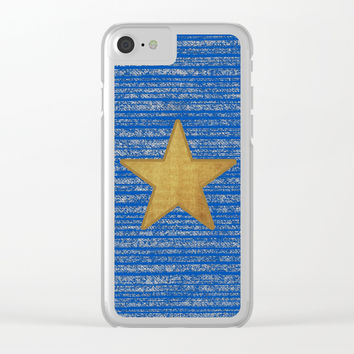 Gold star and blue Clear iPhone Case by Julius Marc