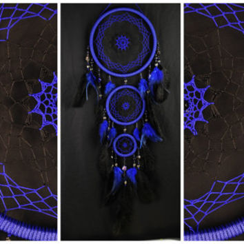 Black Dream Catcher Blue Dreamcatcher black blue Dream сatcher dreamcatchers boho dreamcatchers wall decor handmade gift idea Christmas gift