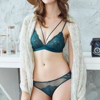Seamless Green Bra Set Transparent Embroidery Brassiere See Through Bra Plus Size Sexy Underwear Sets For Women Lace Lingerie