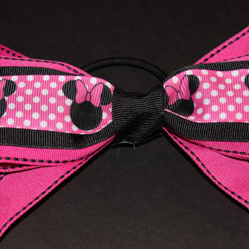 Hot Pink Minnie Mouse Hair Bow by KatieraDesigns on Etsy