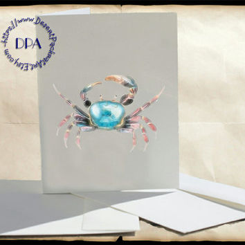 Into the Light Blue Crab & Orange Long-legged Crab Art - - 10 Cards - Printable Art on Matte Note Cards,Everyday and Special Cards
