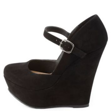 Mary Jane Platform Wedge Pumps by Charlotte Russe - Black