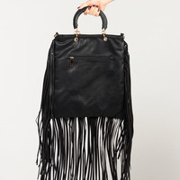 Fringed Out Leather Bag - Black