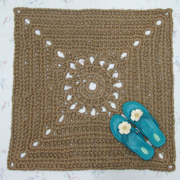 Square Jute Rug - Natural Fiber Rug - Square Throw Rug - Scatter Rug - Hypoallergenic - Hippie Decor - Eco Friendly Rug - Outdoor Rug
