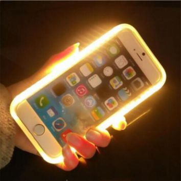 Fashion New Luxury Luminous Phone Cover LED Light Selfie Phone Case for iPhone 7 7 Plus 6 6S 6 6S Plus