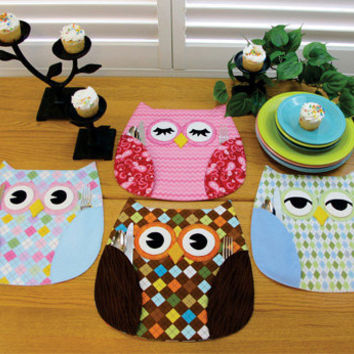 Owl Place Mats, Pattern, Who's Place,by Susie C Shore Designs