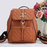 Chanel Logo Women Fashion School Bag Leather Backpack Multi-color Brown I-LLBPFSH