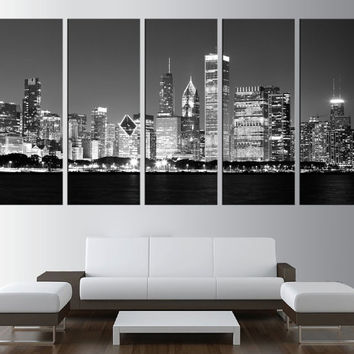 chicago wall art print on canvas,  chicago skyline wall art, large canvas print, extra large wall art, chicago night wall art  t201