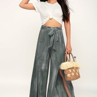 Deanna Charcoal Grey Wide-Leg Pants