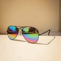 Mirrored Aviators Sunglasses in Black