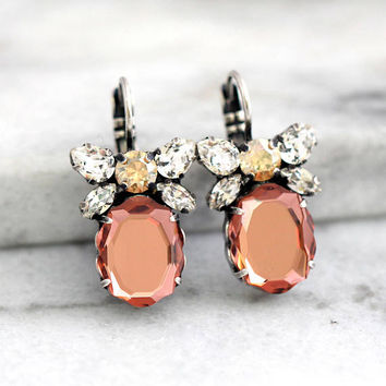 Blush Earrings, Bridal Silver Blush Earrings, Blush Drop Earrings, Bow Earrings, Bridesmaids Earrings, Rose Blush Bridal Dangle Earrings.