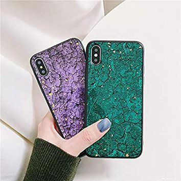 UnnFiko Marble Glitter Phone Case Compatible with iPhone X/iPhone Xs, Gold Foil Bling Flakes Case, Soft TPU Protective Case Covers for Women Men (Marble Green, iPhone X/Xs)