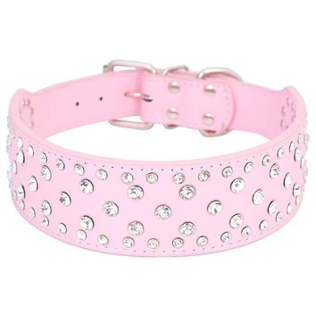 Large Size Dog Collar Bling Big Dog Collars Full With Rhinestones PU Leather Size M L XL Black&Pink&White Free Shipping