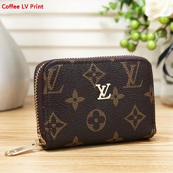 LV Louis Vuitton Fashion New Monogram Check Print Wallet Purse Coffee LV Print