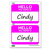 Cindy Hello My Name Is - Sheet of 2 Stickers