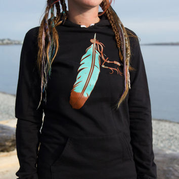 The American Apparel Hoodie Dress with Native American Feather Screen Print Long Black Hoodie Free Spirit Clothing 100% Cotton One Size