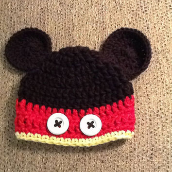 Crochet Mickey Mouse Beanie - All Sizes - Made to order