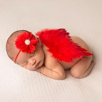 Newborn Photography Props Baby Boys Girls Red Angel Wings Set Feather Butterfly Wings Girls Hair Accessories