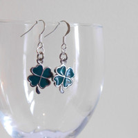 Cloverleaf Earrings - St. Patrick's Day Jewelry -  Four Leaf Clover - Dangle Earrings