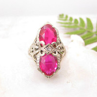 Art Deco Ruby Diamond Ring, Striking Design with Intricate Filigree Work, 14K White Gold, Circa 1920s