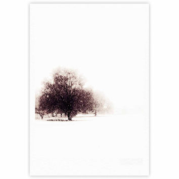 "Sylvia Coomes ""Winter Landscape"" Maroon White Fine Art Gallery Print"