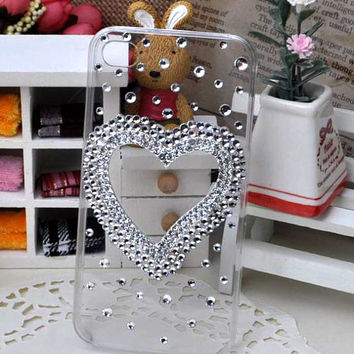 Crystal Heart Bling Cell Phone Case for iphone6 6s plus, for galaxy S6 S7 and more