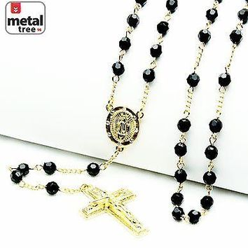 "Jewelry Kay style NEW Men's Rosary 14k Gold Plated Guadalupe & Jesus Cross 28"" Necklace HR 600 GBK"