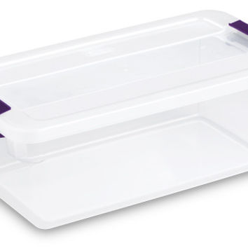 Sterilite 17511712 6 Quart Clearview LatchTM Storage Container With Plum Handles