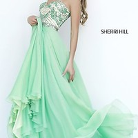 Sherri Hill Long Strapless Beaded Prom Dress