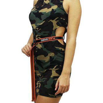 Camo Round Neck Sleeveless Cutout Side Bodycon Mini Dress with Belt