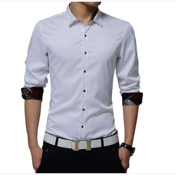 Long-Sleeve Button Down Solid Color Shirt