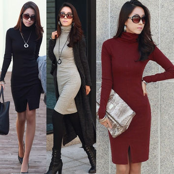 Women Turtleneck Long Sleeve Knit Slim Sweater Bodycon Dress Winter S-XL D_L