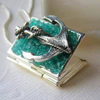 Anchor Locket, Book Locket, Anchor Necklace, Locket Jewelry, Stained Glass Locket, Nautical Necklace