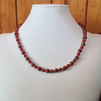 Noreena Jasper, Carnelian & Sterling Silver Handmade Necklace, Red Necklace, Women's Necklace, Jasper Necklace, Gift for Her