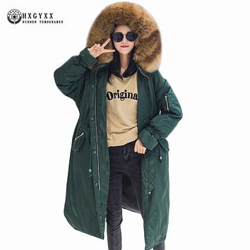 Loose Plus Size Woman Winter Coat 2017 Long Female Outerwear Fur Collar Hooded Military Parka Elastic Waist Puffer Jacket Okb363