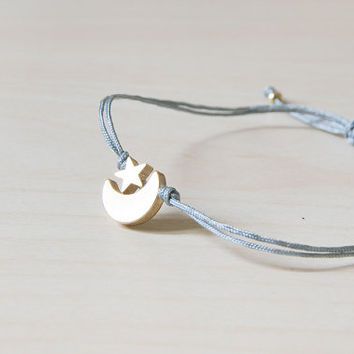 Moon bracelet, gold moon bracelet, moon charm bracelet, moon star, summer, star bracelet, moon and star, thread bracelet, gold star
